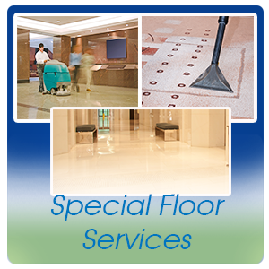 Special Floor Services such as carpet extraction, tile and grout cleaning, buff and spray and VCT refinish